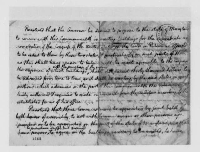 Thomas Jefferson, 1783, Draft of Resolution Authorizing Erection of Public Buildings for Congress
