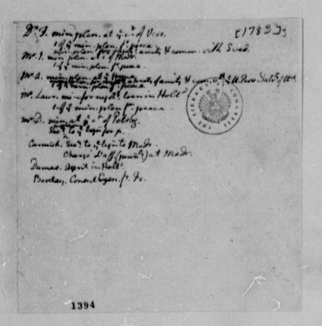 Thomas Jefferson, 1783, List of American Foreign Ministers