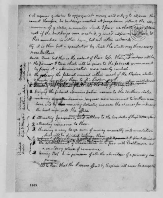 Thomas Jefferson, 1783, Notes and Calculations on Regional Concerns in Congress