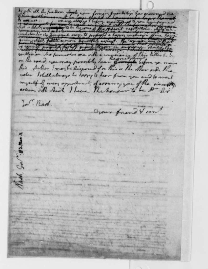 Thomas Jefferson to Abner Nash, March 11, 1783