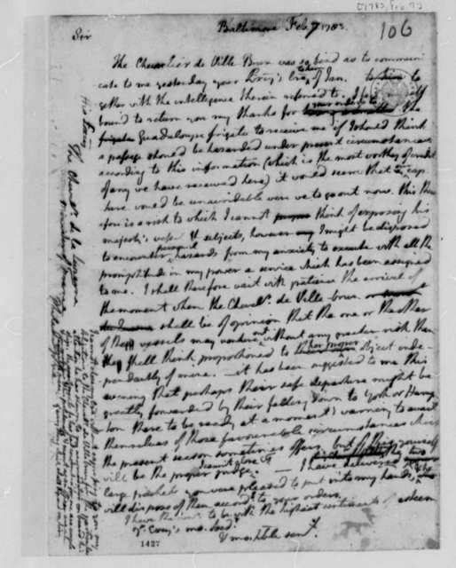 Thomas Jefferson to La Luzerne, February 7, 1783