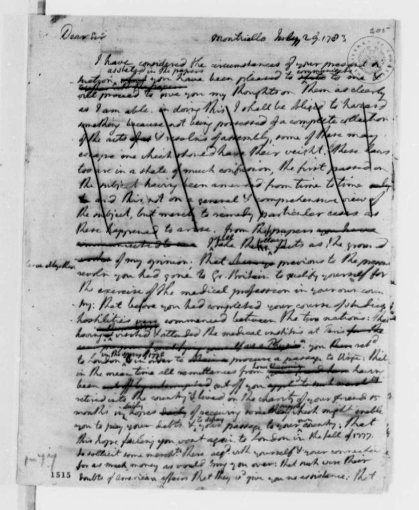 Thomas Jefferson to Philip Turpin, July 29, 1783, Turpin's Difficulties in Returning to Virginia from Great Britain