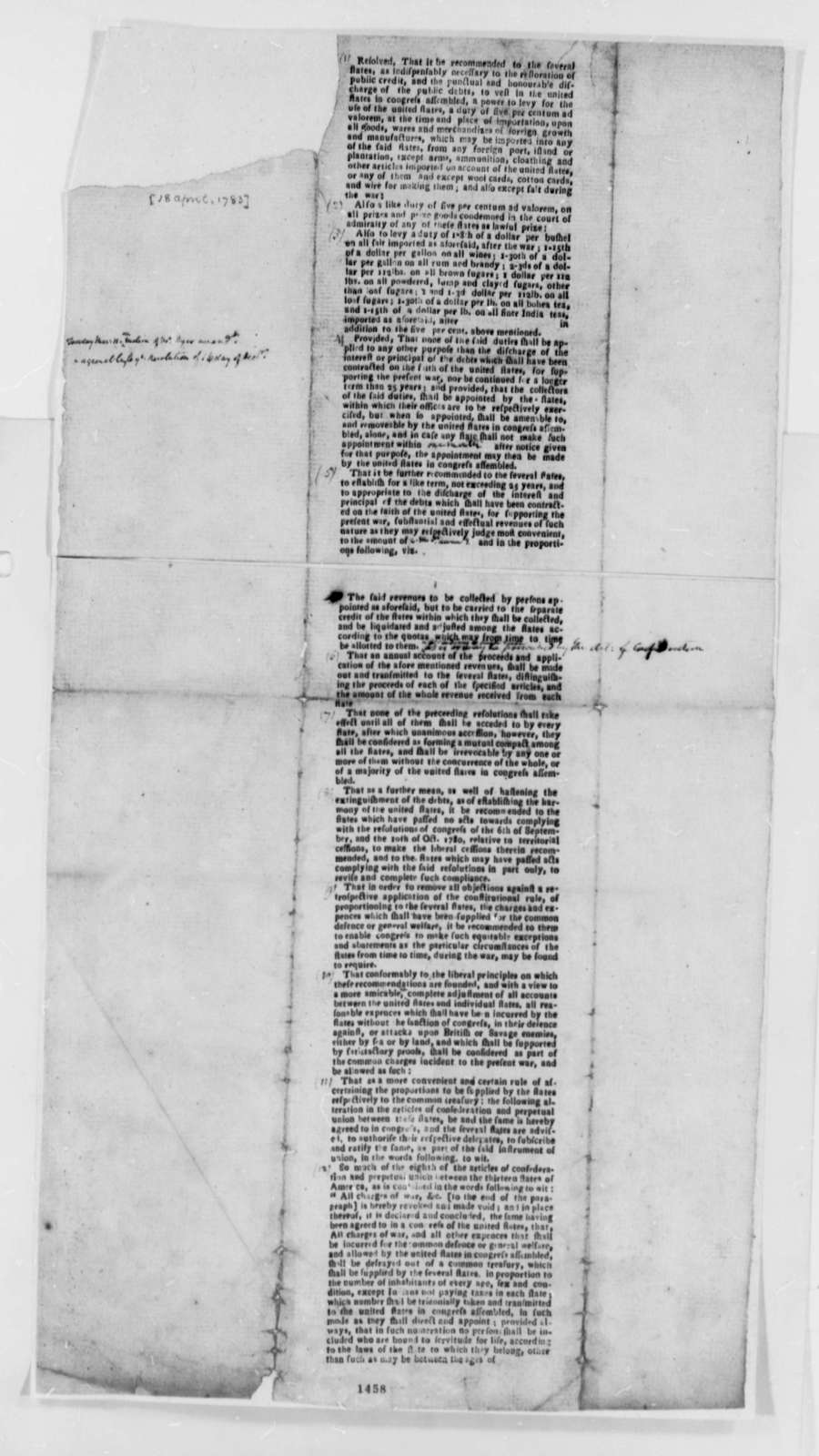 United States Congress, April 18, 1783, Printed Resolution on Import Duties to Pay Public Debt