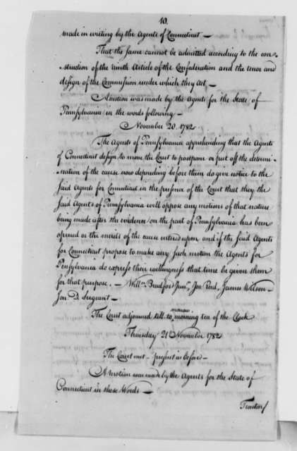 United States Congress, January 2, 1783, Proceedings and Final Decision on Pennsylvania-Virginia Boundary Dispute