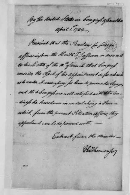 United States Congress Peace Treaty Commission, April 1, 1783, Resolution Releasing Thomas Jefferson from Appointment as Peace Commissioner