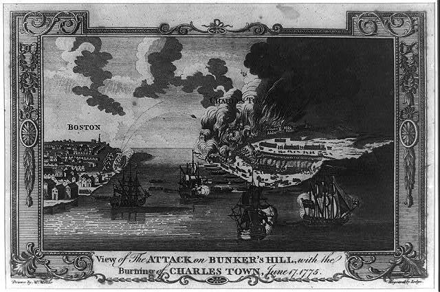 View of the attack on Bunker's Hill, with the burning of Charles Town, June 17, 1775 / drawn by Mr. Millar ; engraved by Lodge.