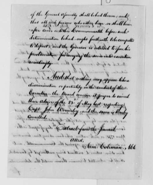 Virginia Council, July 2, 1783, Opinion on Requests to Remain in Virginia by Andrew Johnston, et al; with Copy
