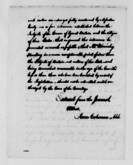 Virginia Council, May 17, 1783, Recommendation to Withhold Virginia Citizenship from John Wormeley; with Copy