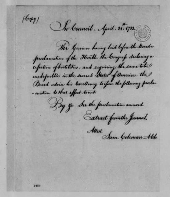Virginia Council to Benjamin Harrison, April 21, 1783, Recommendation to Issue Proclamation on Articles of Peace; with Copy