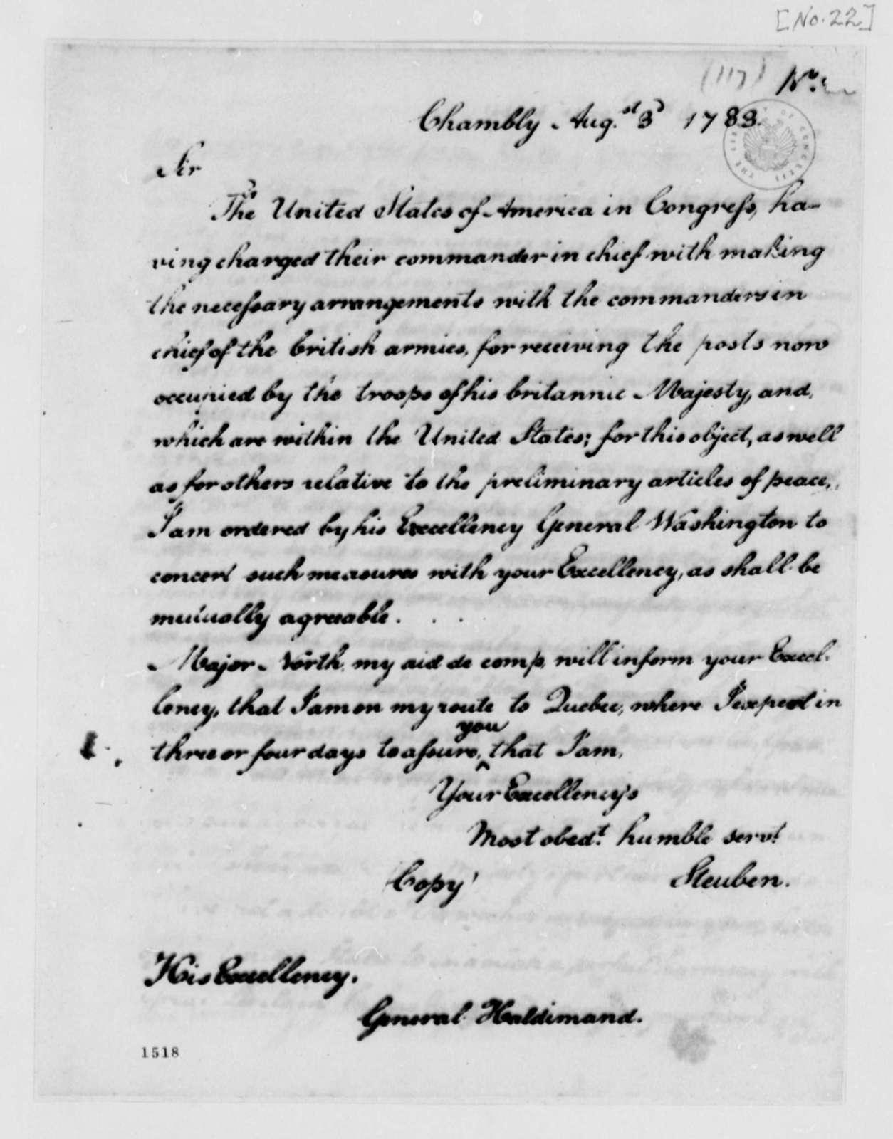 Von Steuben to Frederick Haldimand, August 3, 1783
