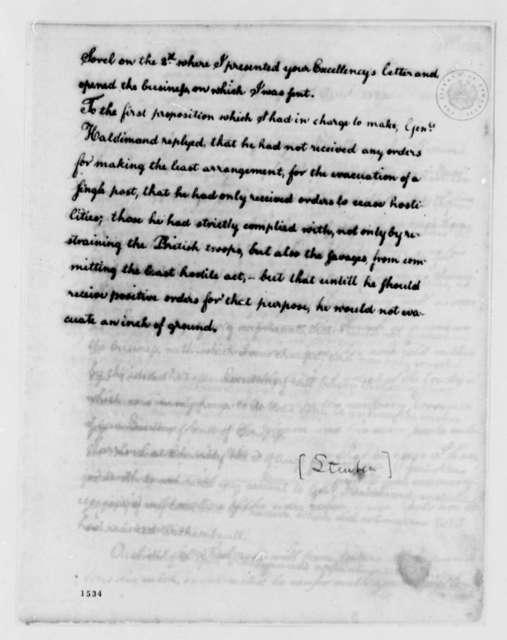 Von Steuben to George Washington, August 23, 1783