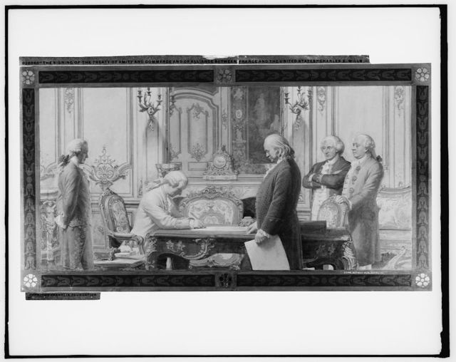 The signing of the Treaty of Amity and Commerce and of Alliance between France and the United States