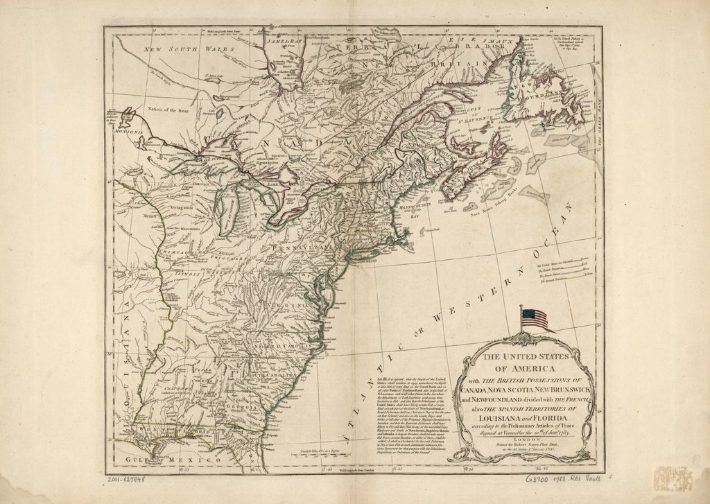 The United States of America with the British possessions of Canada, Nova Scotia, New Brunswick and Newfoundland divided with the French, also the Spanish territories of Louisiana and Florida, according to the preliminary articles of peace signed at Versailles the 20th of Jany. 1783.