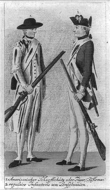 1. Americanischer scharffschütz oder Jäger (rifleman) 2. regulaire infanterie von Pensylvanien / D. Chodowiecki id ; D. Berger sc.
