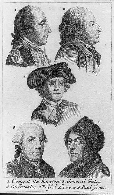 1. General Washington 2. General Gates 3. Dr. Franklin 4. Präsid Laurens 5. Paul Jones / D. Berger sculp. 1784.