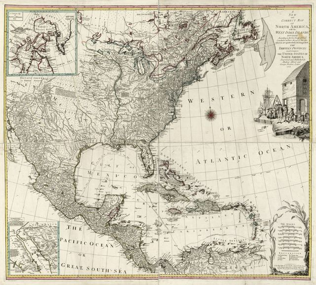 A new and correct map of North America with the West India Islands. Divided according to the last Treaty of Peace, concluded at Paris the 20th of Jan. 1783. wherein are particularly distinguished the Thirteen Provinces wich [sic] compose the United States of North America.