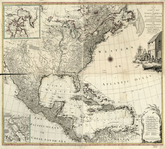 A new and correct map of North America, with the West India Islands. Divided according to the last Treaty of Peace, concluded at Paris the 20th of Jan. 1783 wherein are particularly distinguished the Thirteen Provinces wich [sic] compose the United States of North America.