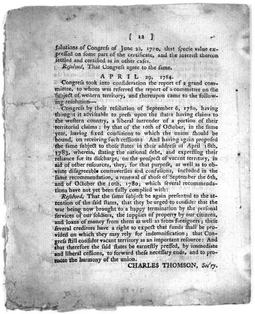 A statement of the national debt, with a requisition of Congress, on the United States. April 27, 1784. Richmond: Printed by Dunlap and Hayes. Printers to the Commonwealth. [1784].