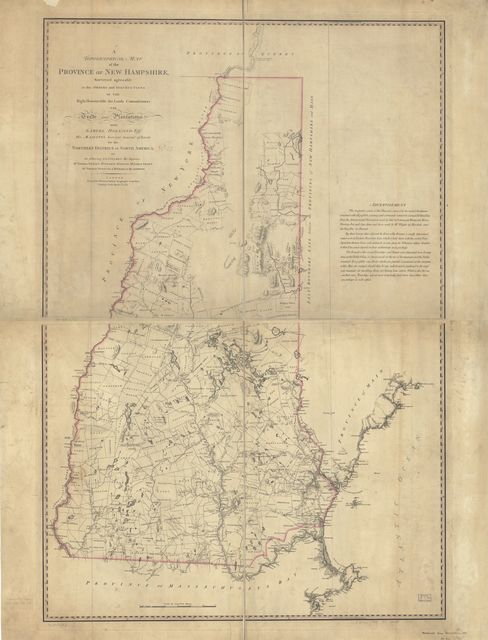 A topographical map of the Province of New Hampshire,