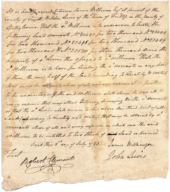 Agreement between John Lewis and James Wilkinson for locating land