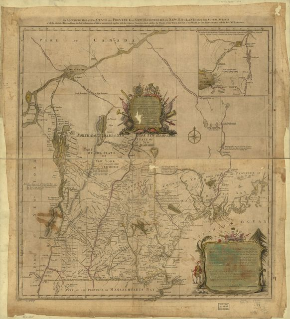 An accurate map of the State and Province of New-Hampshire in New England, taken from actual surveys of all the inhabited part, and from the best information of what is uninhabited, together with the adjacent countries, which exhibits the theatre of this war in that part of the world,