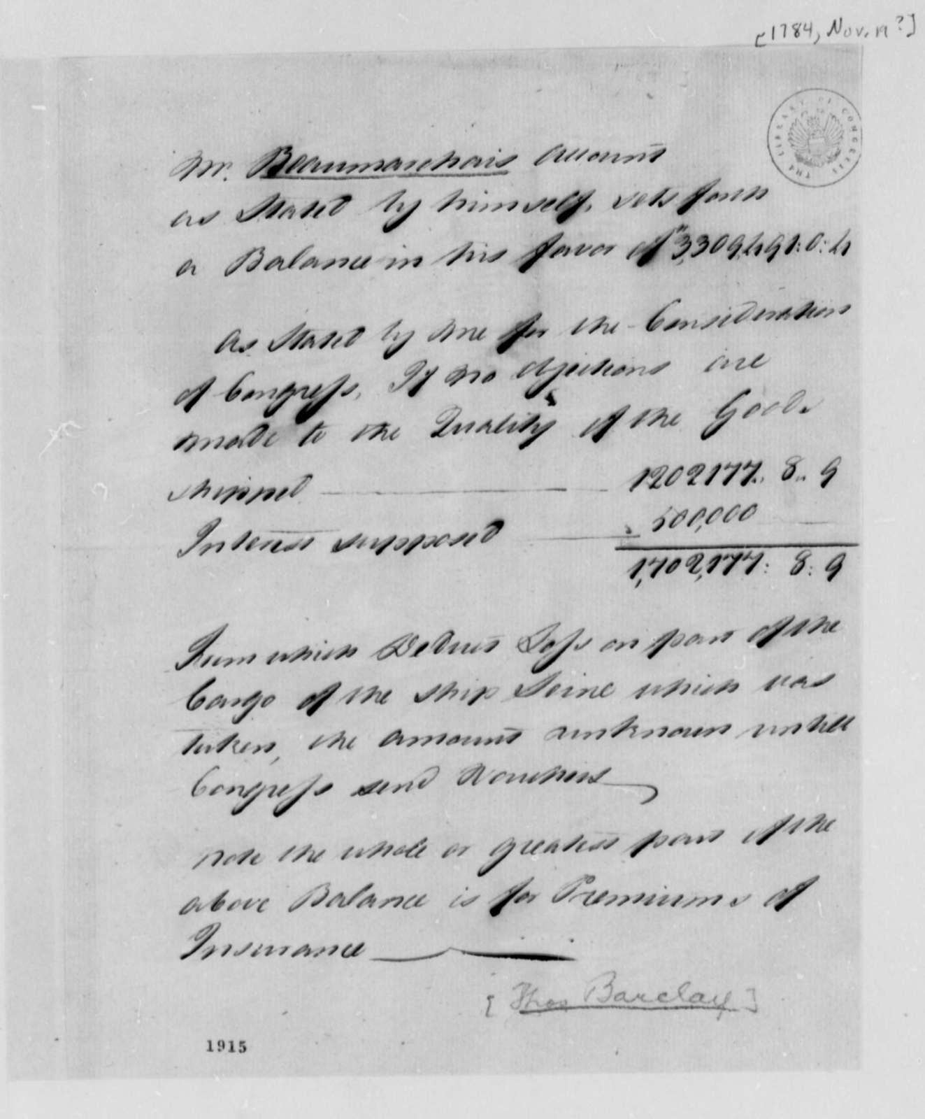 Barclay Thomas to United States Congress, November 19, 1784, Account