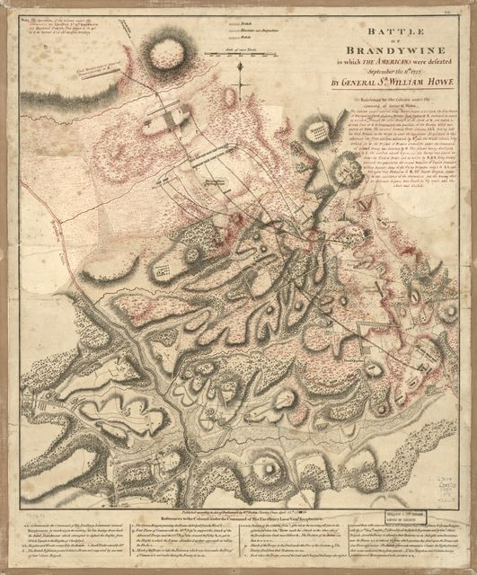 Battle of Brandywine in which the Americans were defeated : September the 11th, 1777 by General Sr. William Howe.