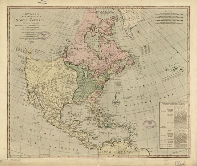 Bowles's new pocket map of North America, divided into it's provinces, colonies, states, &c.
