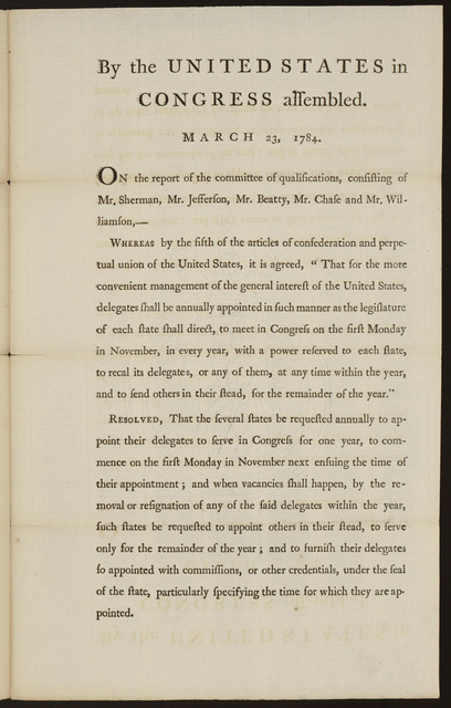 By the United States in Congress assembled. March 23, 1784 : On the report of the committee of qualifications, consisting of Mr. Sherman, Mr. Jefferson, Mr. Beatty, Mr. Chase and Mr. Williamson ...