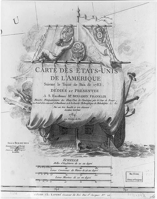 [Cartouche - sailor hanging national seal next to the seal of the United States on a warship]