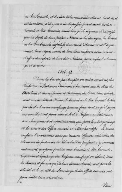"Charles Gravier, Comte de Vergennes, and Franklin Benjamin, July 29, 1784, ""Scheme of a Convention"" for Foreign Consuls; in French; with Copy and Printed Translation"