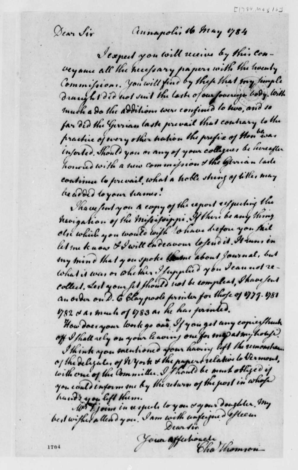 Charles Thomson to Thomas Jefferson, May 16, 1784