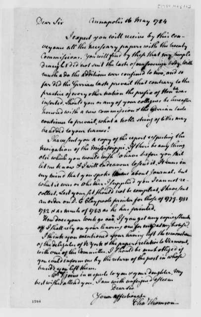 Charles Thomson to Thomas Jefferson, May 16, 1784