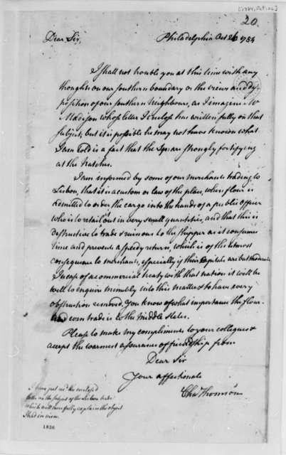 Charles Thomson to Thomas Jefferson, October 26, 1784