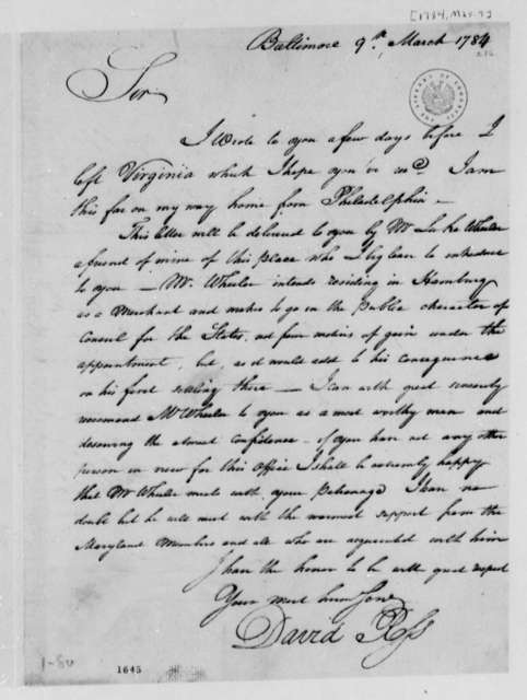 David Ross to Thomas Jefferson, March 9, 1784