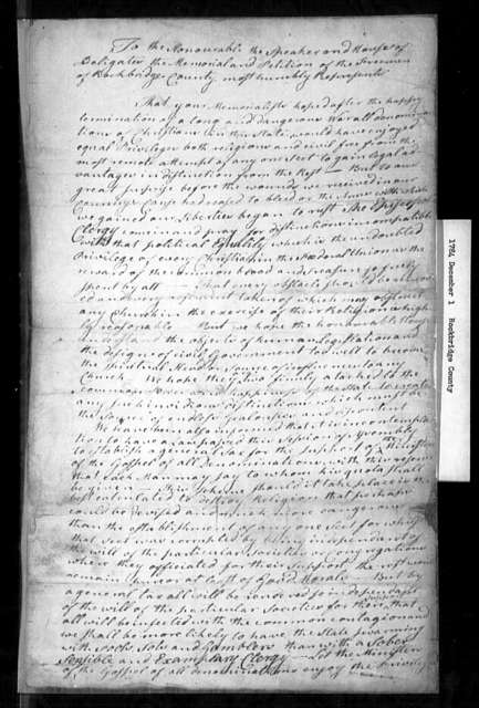 December 1, 1784, Rockbridge, Against religious distinctions; against general assessment for support of religion; for a constitutional convention.