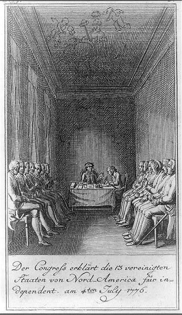 Der Congress erklärt die 13 vereinigten Stăaten von Nord-America für independent am 4ten July 1776 / D. Chodowiecki inv. et del. ; D. Berger sculpsit 1784.