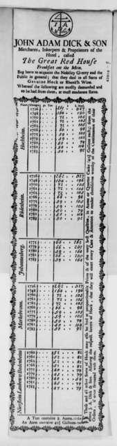 Dick John Adam & Son, 1784-89, Card Listing Wine Prices