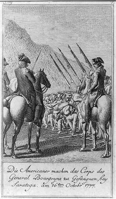 Die Americaner machen das Corps des General Bourgoyne zu Gefangnen, bey Saratoga, am 16ten Octobr 1777 / D. Chodowiecki inv. et del. ; D. Berger sculpsit 1784.