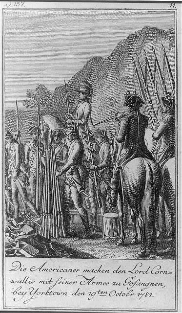 Die Americaner machen den Lord Cornwallis mit seiner Armee zu Gefangnen, bey Yorktown den 19ten Octobr 1781 / D. Chodowiecki inv. et del. ; D. Berger sculpsit 1784.