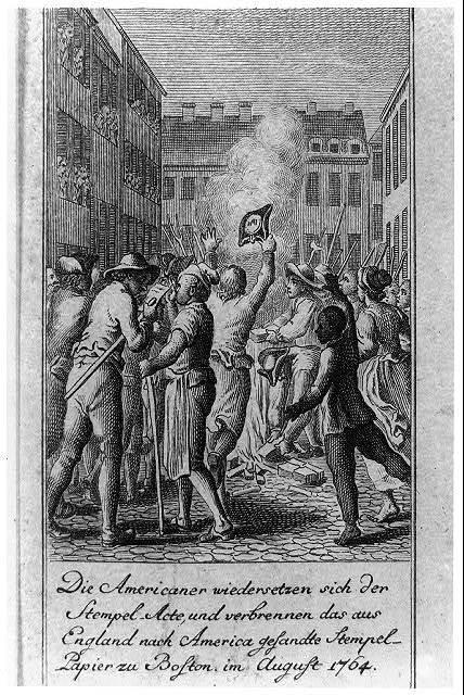 Die Americaner wiedersetzen sich der Stempel-Acte, und verbrennen das aus England nach America gesandte Stempel-Papier zu Boston, im August 1764 / D. Chodowiecki del. et sculp.