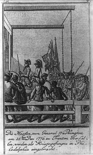 Die Hessen, vom General Washington am 25ten Dec. 1776, zu Trenton überfallen, werden als Kriegsgefangne in Philadelphia eingebracht / D. Chodowiecki del. et sculp.