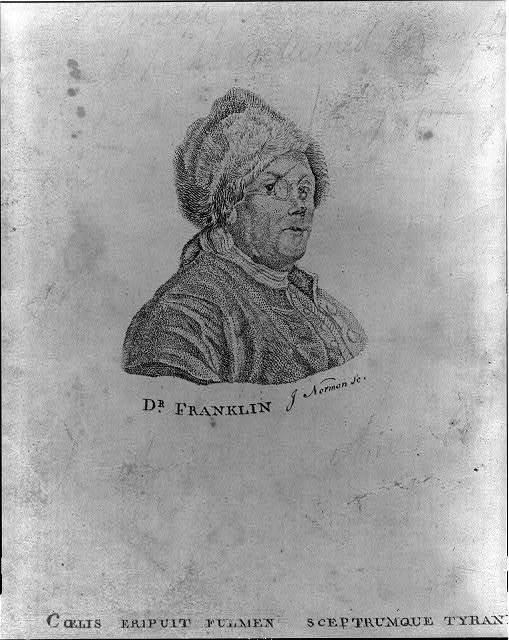 Dr. Franklin - cœlis eripuit fulmen sceptrumque tyrannis / J. Norman sc.