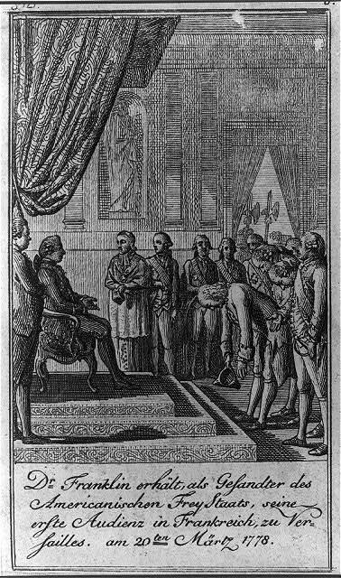 Dr. Franklin erhält, als Gesandter des Americanischen FreyStaats, seine erste Audienz in Frankreich, zu Versailles, am 20ten Märtz 1778 / D. Chodowiecki del. et sculp.