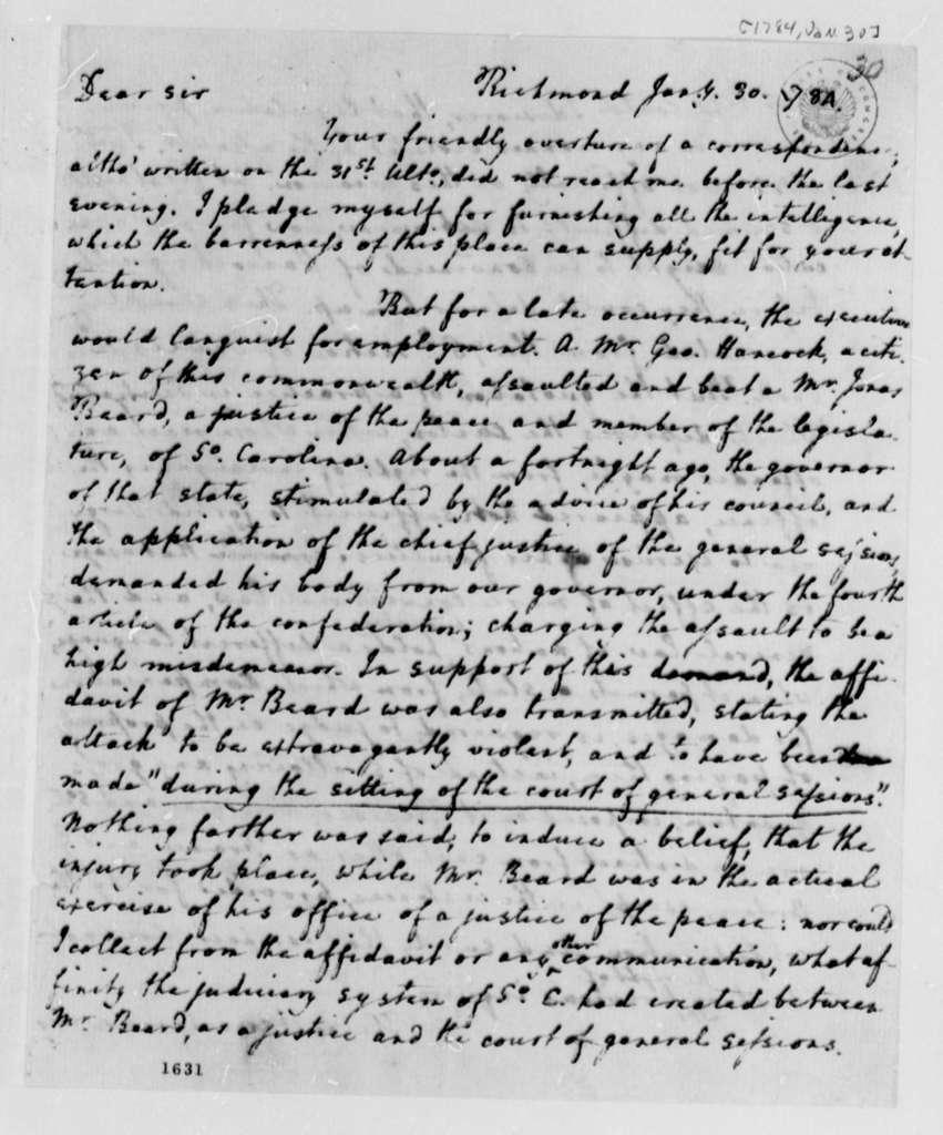 Edmund Randolph to Thomas Jefferson, January 30, 1784