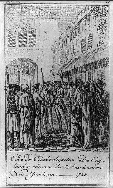 Ende der Feindseeligkeiten. Die Engländer räumen den Americanern Neu-Yorck ein 1783 / D. Chodowiecki del. et sculp.
