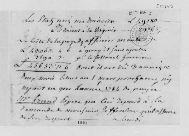 Ferdinand Grand, 1784, Account of Debt; in French