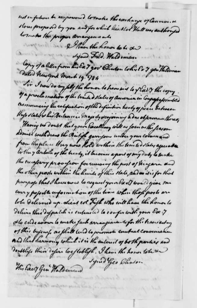 Frederick Haldimand to Henry Knox, July 13, 1784, with Copy of Letter from George Clinton to Frederick Haldimand