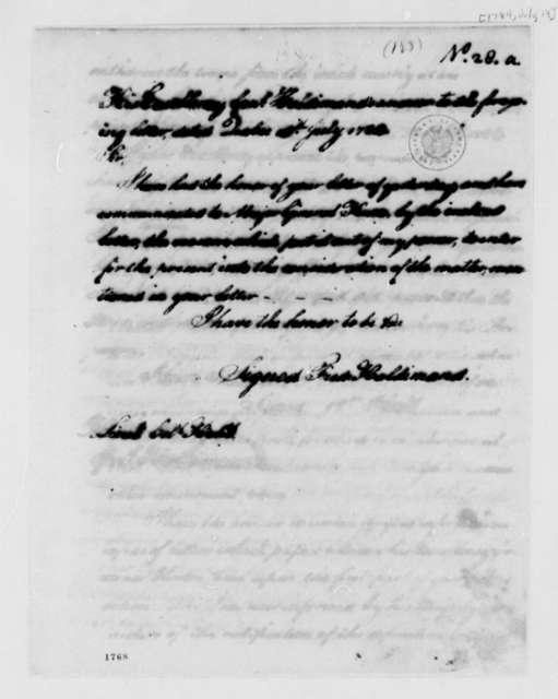 Frederick Haldimand to William Hull, July 13, 1784