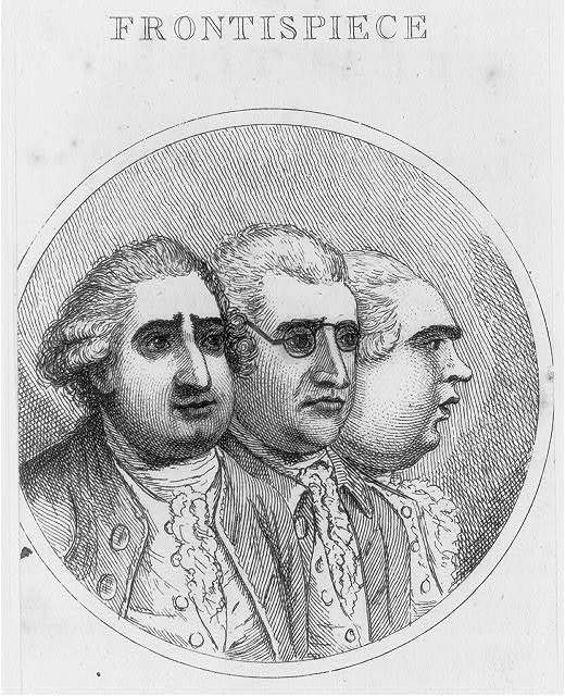Frontispiece [Fox, Burke, and North, head-and-shoulders portrait, facing right, in oval]